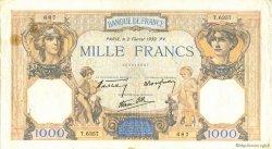 1000 Francs CÉRÈS ET MERCURE type modifié FRANCE  1939 F.38.34 TB à TTB