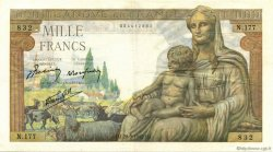 1000 Francs DÉESSE DÉMÉTER FRANCE  1942 F.40.01 TTB+