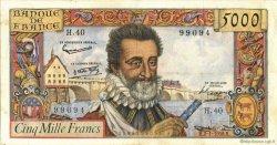 5000 Francs HENRI IV FRANCE  1958 F.49.05 TTB