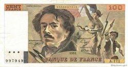 100 Francs DELACROIX imprimé en continu FRANCE  1991 F.69bis.03a2 TTB