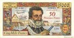 50 NF sur 5000 Francs HENRI IV FRANCE  1958 F.54.01 SUP