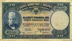 20 Franka Ari ALBANIE  1926 P.03a TB+