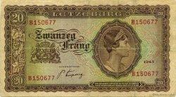 20 Francs LUXEMBOURG  1943 P.42a TB à TTB