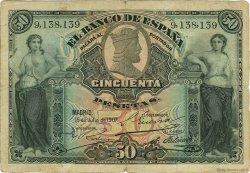 50 Pesetas ESPAGNE  1907 P.063a TB