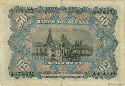 50 Pesetas ESPAGNE  1907 P.063a TTB+