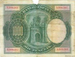 1000 Pesetas ESPAGNE  1925 P.070a TB