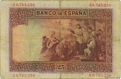 25 Pesetas ESPAGNE  1926 P.071a TB