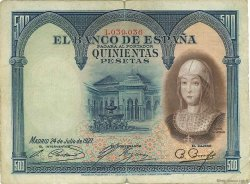 500 Pesetas ESPAGNE  1927 P.073a TB+