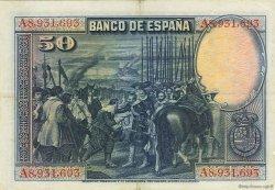 50 Pesetas ESPAGNE  1928 P.075b TTB+