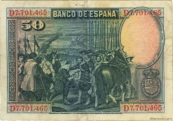 50 Pesetas ESPAGNE  1928 P.075b TB