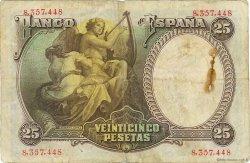 25 Pesetas ESPAGNE  1931 P.081 TB