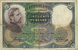 50 Pesetas ESPAGNE  1931 P.082 TB