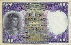 100 Pesetas ESPAGNE  1931 P.083 pr.TB