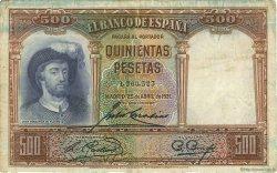 500 Pesetas ESPAGNE  1931 P.084 TB