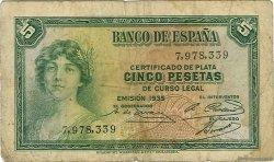 5 Pesetas ESPAGNE  1935 P.085a TB