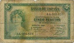 5 Pesetas ESPAGNE  1935 P.085a B