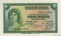 5 Pesetas ESPAGNE  1935 P.085a SPL