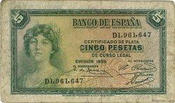 5 Pesetas ESPAGNE  1935 P.085a B+