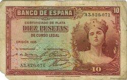 10 Pesetas ESPAGNE  1935 P.086a B