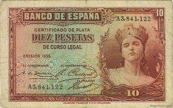 10 Pesetas ESPAGNE  1936 P.086a TB