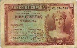 10 Pesetas ESPAGNE  1935 P.086a TB