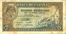 5 Pesetas ESPAGNE  1940 P.123a B+