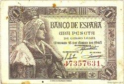 1 Peseta ESPAGNE  1945 P.128a TTB