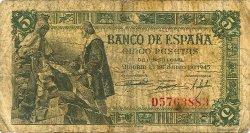 5 Pesetas ESPAGNE  1945 P.129a pr.B