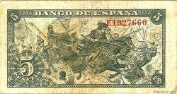 5 Pesetas ESPAGNE  1945 P.129a TB