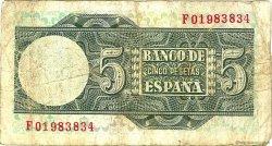 5 Pesetas ESPAGNE  1948 P.136a B+