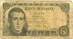 5 Pesetas ESPAGNE  1951 P.140a B