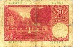 50 Pesetas ESPAGNE  1951 P.141a AB