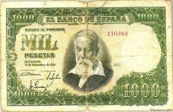 1000 Pesetas ESPAGNE  1951 P.143a B+