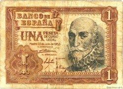1 Peseta ESPAGNE  1953 P.144a B