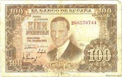 100 Pesetas ESPAGNE  1953 P.145a TB