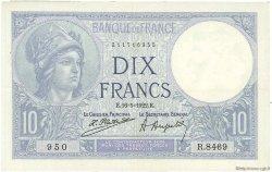10 Francs MINERVE FRANCE  1922 F.06.06 pr.SUP