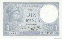 10 Francs MINERVE modifié FRANCE  1940 F.07.16 SUP+