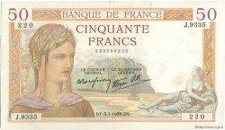 50 Francs CÉRÈS modifié FRANCE  1939 F.18.19 TTB