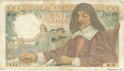 100 Francs DESCARTES FRANCE  1943 F.27.03 TB+