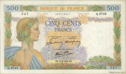 500 Francs LA PAIX FRANCE  1942 F.32.40 TTB+