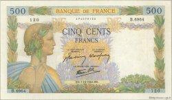 500 Francs LA PAIX FRANCE  1942 F.32.41 SUP+