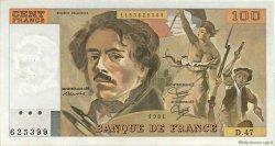 100 Francs DELACROIX modifié FRANCE  1981 F.69.05 TTB à SUP