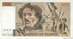 100 Francs DELACROIX modifié FRANCE  1989 F.69.13c SPL+