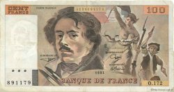 100 Francs DELACROIX imprimé en continu FRANCE  1991 F.69bis.03a4 TTB