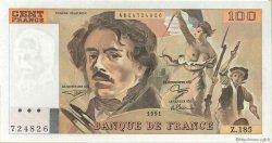 100 Francs DELACROIX imprimé en continu FRANCE  1991 F.69bis.03b2 pr.SPL