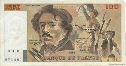100 Francs DELACROIX imprimé en continu FRANCE  1991 F.69bis.04a TTB