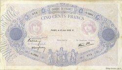 500 Francs BLEU ET ROSE modifié FRANCE  1938 F.31.15 TB+