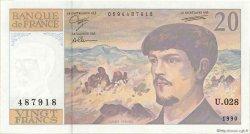20 Francs DEBUSSY à fil de sécurité FRANCE  1990 F.66bis.01 SPL