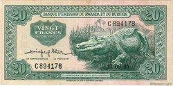 20 Francs RWANDA BURUNDI  1960 P.03 TTB à SUP
