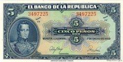 5 Pesos Oro COLOMBIE  1950 P.386e NEUF